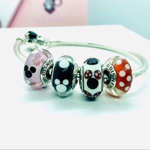 Pandora Jewelry - New PANDORA Disney Mickey & Minnie Murano Bead Set